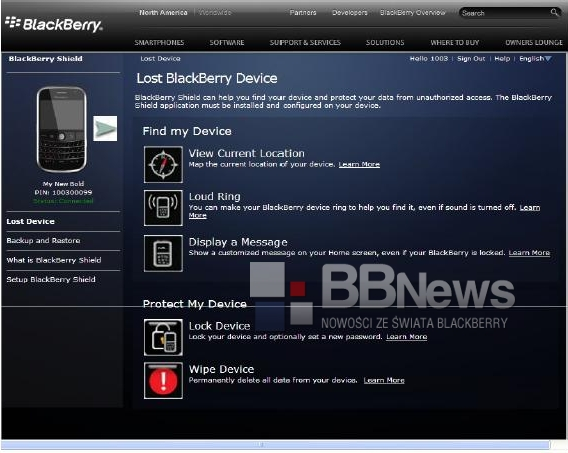 BlackBerry Shield Details