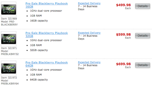 Staples BlackBerry PlayBook Preorder