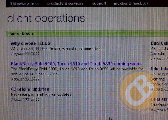 Telus BlackBerry Release Date