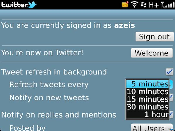 BlackBerry Twitter Refresh Settings