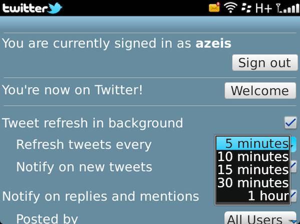 BlackBerry Twitter Refresh Settings