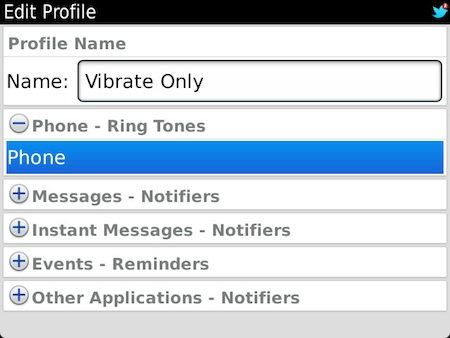 BlackBerry Vibrate Only Profile