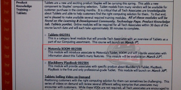 BlackBerry PlayBook Staples Training March 30th