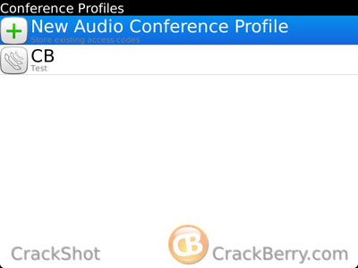 BlackBerry Mobile Conferencing create profile