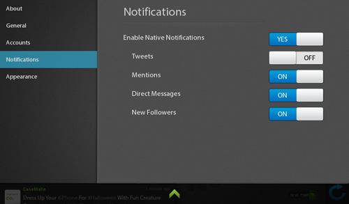 Blaq Notification settings