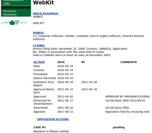 RIM WebKit claim