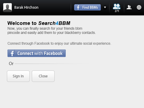 Search 4 BBM welcome page