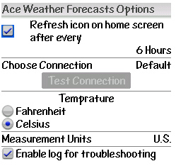 Ace Weather Forecasts options