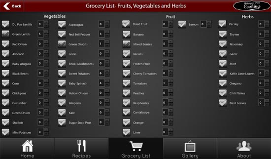 Allergen Free Cooking grocery list