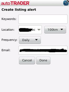 autoTRADER create alert