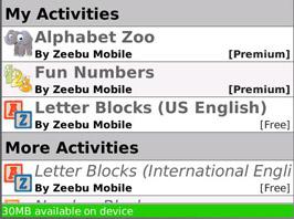 Baby GO! activity list