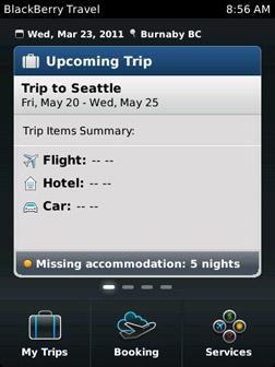 BlackBerry Travel Main menu