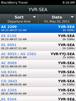 BlackBerry Travel search flights