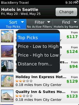 BlackBerry Travel search hotels