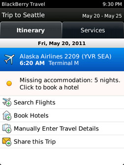 BlackBerry travel details
