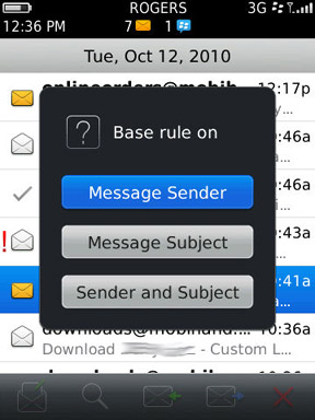 Berrymail create rule in message
