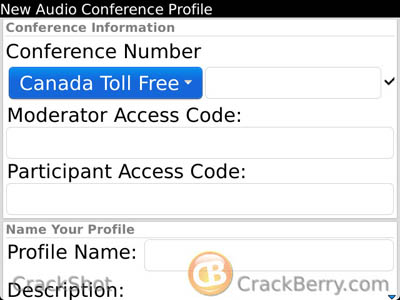 BlackBerry Mobile Conferencing Creating profile