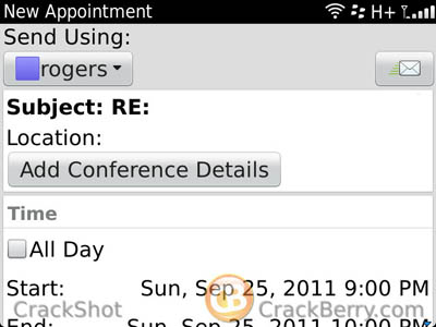 BlackBerry Mobile Conferencing create schedule