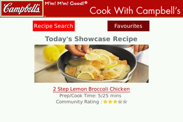 Cook with Campbell`s main menu