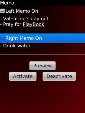 Fixmo Memo menu