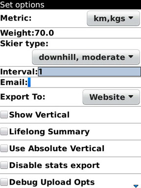 GPS Ski Maps options