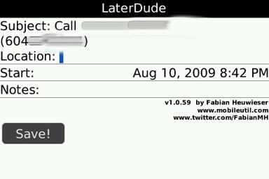LaterDude reminder entry