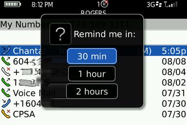 Selecting reminder time