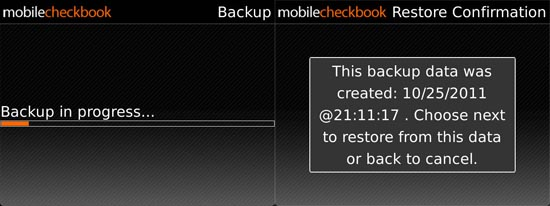 Mobile Checkbook backup/restore