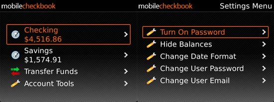 Mobile Checkbook balance