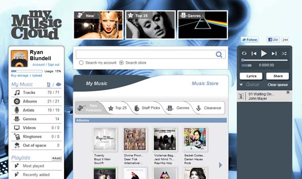 MyMusicCloud Web and PlayBook view