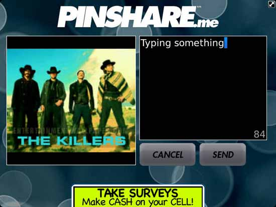 PinShare sending message