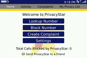 PrivacyStar Home Tab