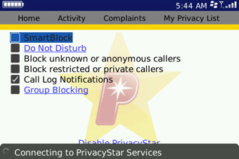 PrivacyStar settings