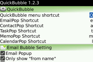 QuickBubble settings menu