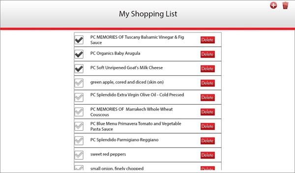 Recipe Box shopping list