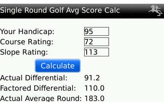 single round golf avg score calculator