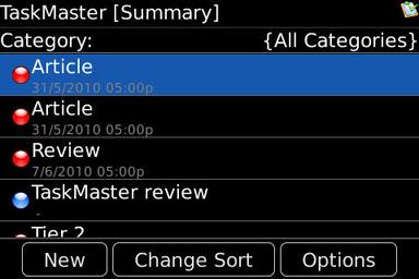 TaskMaster main menu