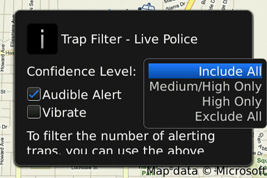 Trapster alert filters