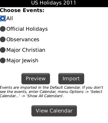 US Holidays 2011