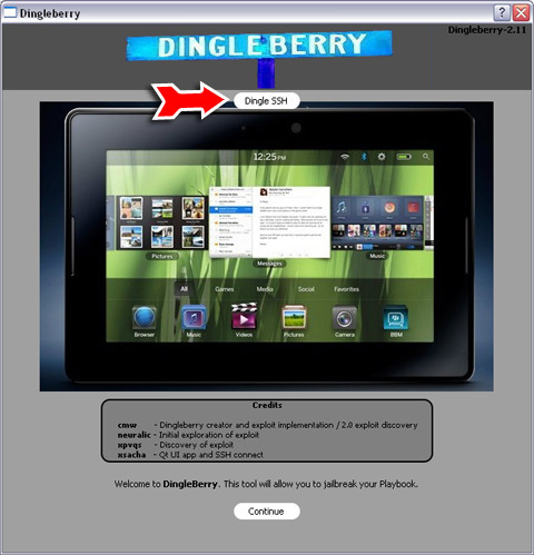 Dingle SSH in the DingleBerry rooting tool