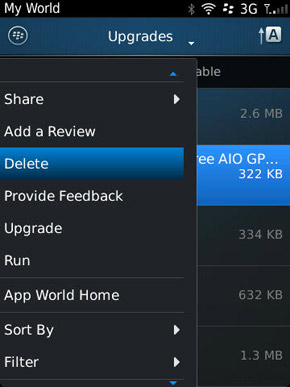 An alternate way to delete applications using BlackBerry App World