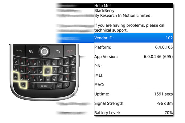 BlackBerry Help Me! Screen