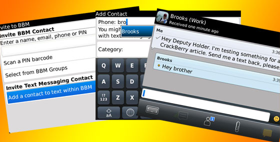 Adding a text messaging contact to BBM