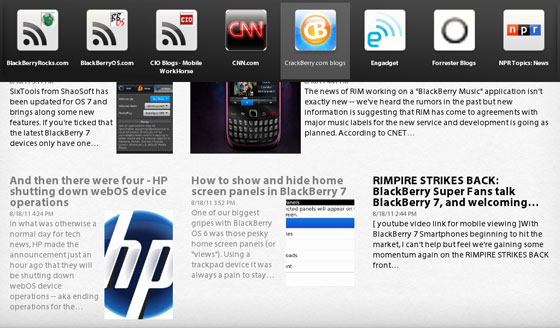Switch feeds from within an RSS channel in BlackBerry News App for PlayBook