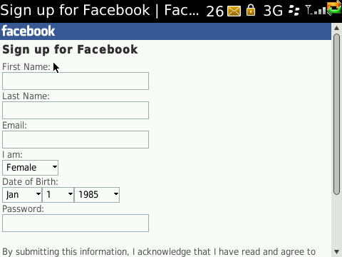 Sign up for Facebook