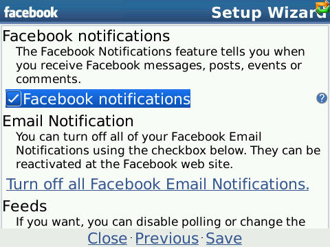 Facebook setup wizard
