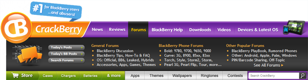 CrackBerry.com Navigation Bar - Forums