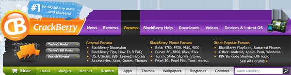 CrackBerry.com Navigation Bar - Forums