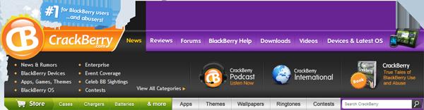 CrackBerry.com Navigation Bar - News