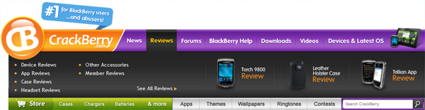 CrackBerry.com Navigation Bar - Reviews